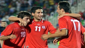 Georgia (U-21) players' celebrations